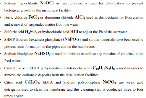 chemical usage in desalination